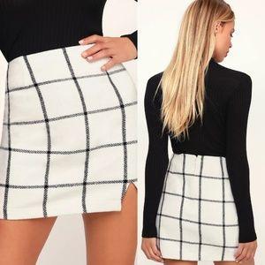 Lulu's Skirts - Spence White Plaid Mini Small LuLus Skirt
